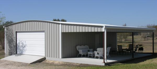 steel building with lean-to