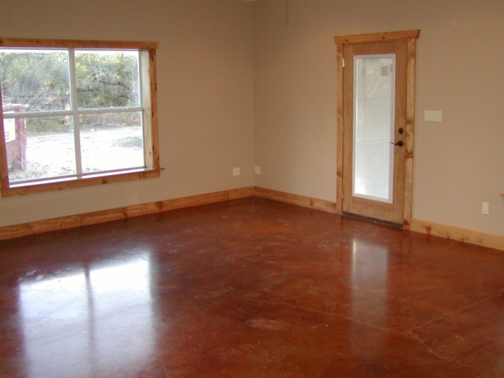 Barndominium with stained floor