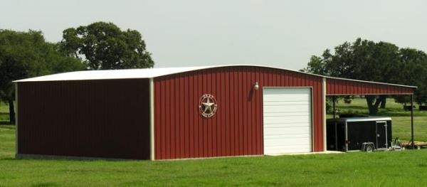 steel building with lean-to and over head door